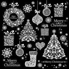圣诞节黑白背景素材