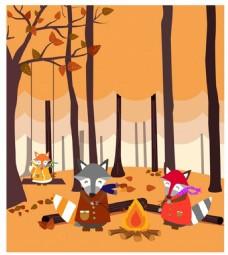程式化的福克斯家族射击在无叶的森林图