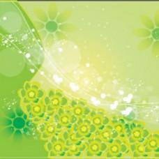 绿色背景花朵图案背景