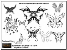 漂亮的蝴蝶花纹艺术photoshop图案笔刷素材 #.3
