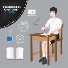 写字的校服男生图片