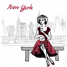 纽约美女插画
