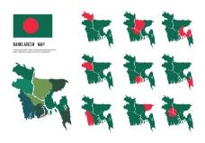 免费孟加拉国地图矢量