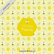 蜜蜂与flowerrs图案在平面设计