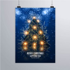 烟花圣诞树海报
