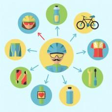 运动自行车元素