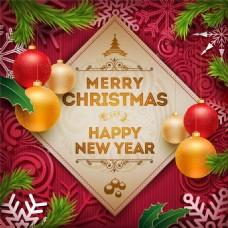 卡通圣诞球雪花背景图片