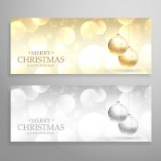 金色和银色圣诞横幅背景