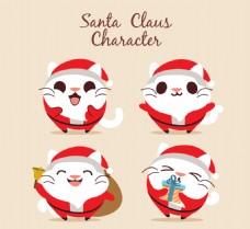 圣诞老人服装的快乐猫