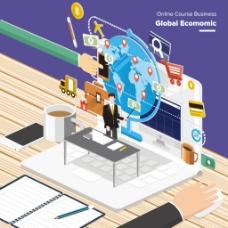全球金融等距插画