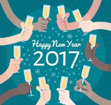 新年背景与香槟酒杯的手