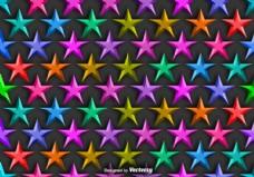 矢量背景与彩色3D明星无缝图案