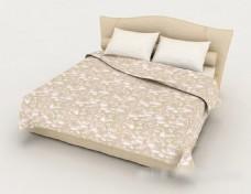 现代简约花纹黄色双人床3d模型下载