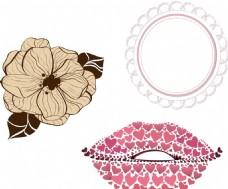 歐式花朵 圓形花紋 心形嘴唇