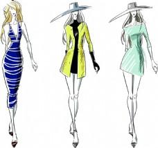 时尚服装模特美女插画