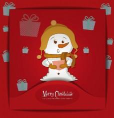 红色背景可爱圣诞素材
