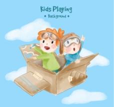 水彩背景儿童飞行盒