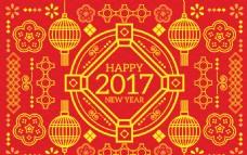 红色新年背景与黄金饰品