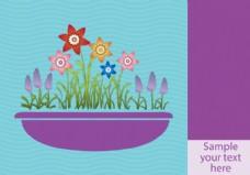 在播种机背景的春天的花朵