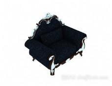 欧式深蓝色花纹沙发3d模型下载