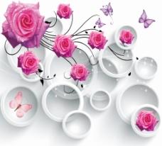 3D紫色调色玫瑰