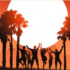 人们在热带的夏季背景上跳舞