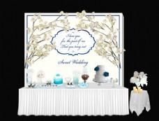 白蓝色婚礼 甜点区
