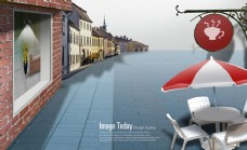 欧洲西方城市街景广告PSD素材