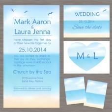 蓝色海岸婚礼主题模板下载