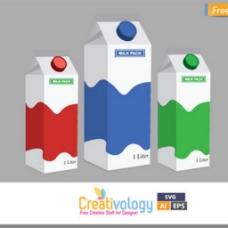 不同色彩牛奶纸盒面膜图标矢量