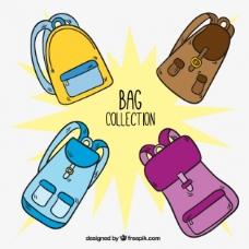 手绘组四个五颜六色的背包