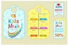 孩子菜单集设计与色彩斑斓的可爱风格