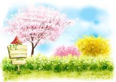 春天唯美插画