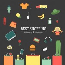 丰富的背景和购物袋和购物元素