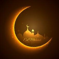 金色的月亮和清真寺开斋节的背景