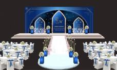 蓝色婚礼主题背景