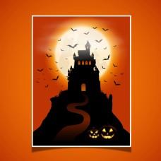 卡通城堡南瓜万圣节背景