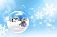 雪人圣诞节海报背景PSD素材
