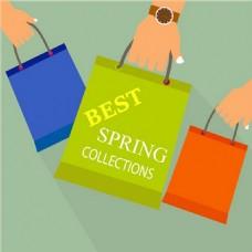 购物概念设计与牵手袋免费矢量
