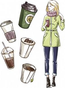 咖啡纸杯与时尚美女插画