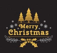 圣诞背景与雪花金色的树
