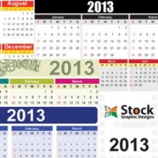 描述新年里的时间日历向量矢量背景