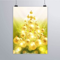 圣诞树海报做成金色的球