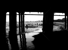 海滨忙碌的人们