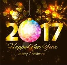 年历日历2017年艺术字圣诞风格矢量素材