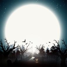 月亮城堡树林背景图片