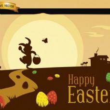 复活节风景矢量图标海报图
