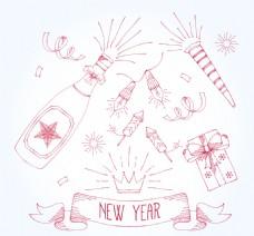 各种手绘新年派对饰品