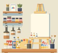 可爱的艺术工作室与许多元素