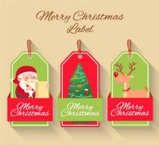 卡通圣诞节吊牌矢量